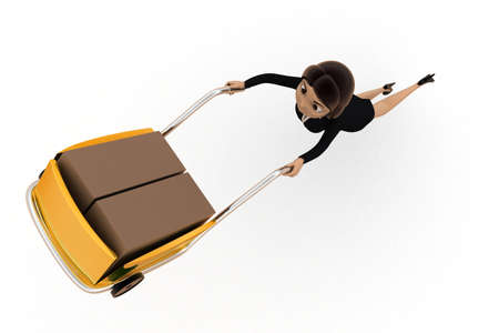handtruck: 3d woman driving handtruck in air concept on white background,  top angle view