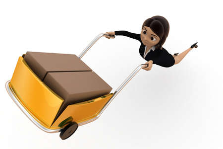 top angle view: 3d woman driving handtruck in air concept on white background,  top angle view