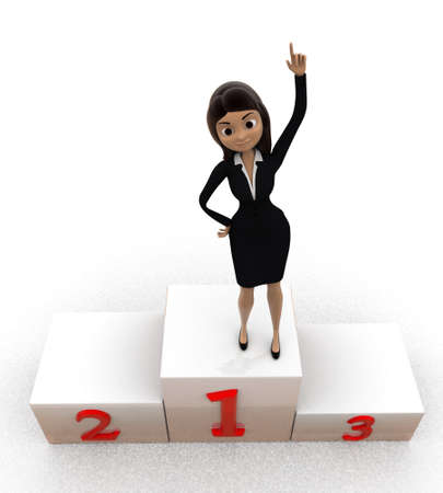 sucess: 3d woman top 3 winner concept on white background,  top angle view Stock Photo