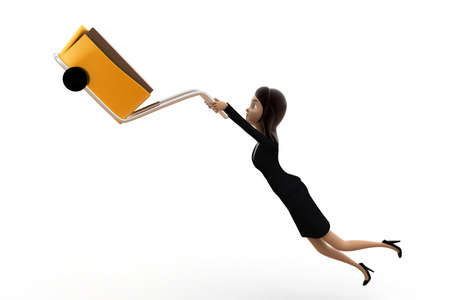 handtruck: 3d woman driving handtruck in air concept on white background, front angle view