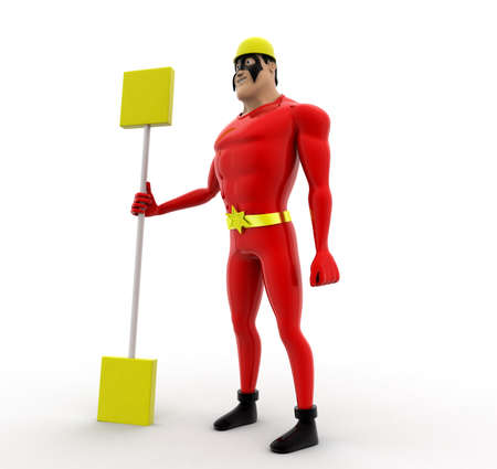 oar: superhero holding oar in hand concept on white background,   side angle view