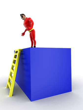 superheros: superhero standing on ladder concept on white background - 3d rendering,  side angle view