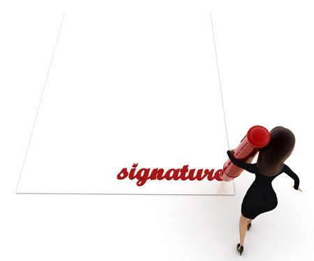 signature: 3d woman signature concept on white background, top angle view Stock Photo