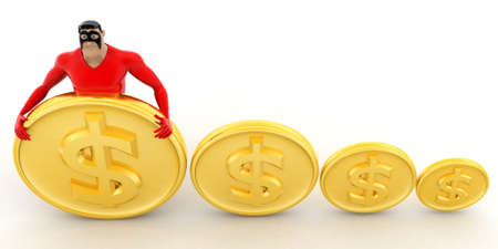 top angle view: superhero with dollar coins concept on white background - 3d rendering, top angle view
