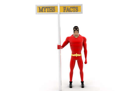 front angle: superhero beside myths and facts sign concept on white background -3d rendering , front angle view