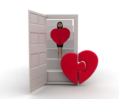 puzzle heart: 3d woman bringing puzzle  heart via stairs concept  on white background, front angle view Stock Photo