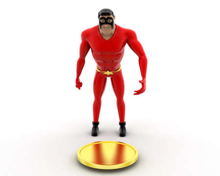 found it: superhero found coin and taking it concept Stock Photo