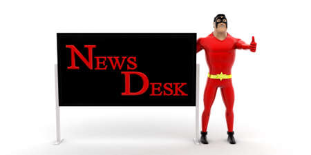help desk: superhero with help desk boarding concept on white background - 3d rendering, front angle view