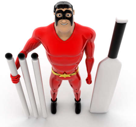 top angle view: superhero with cricket bat , stumbs and  ball concept on white background -3d rendering , top angle view