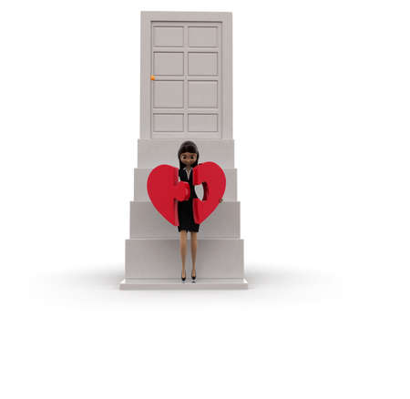heart puzzle: 3d woman connecting heart puzzle concept on white background, front angle view