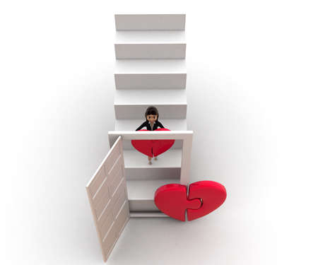 puzzle heart: 3d woman bringing puzzle  heart via stairs concept  on white background, top angle view Stock Photo