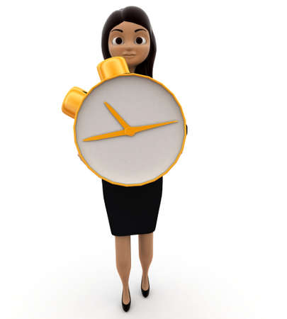 lady clock: 3d woman holding clock concepts on white background, front angle view Stock Photo