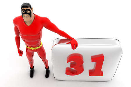 appointments: superhero with calendar concept on white background -3d rendering ,top angle view