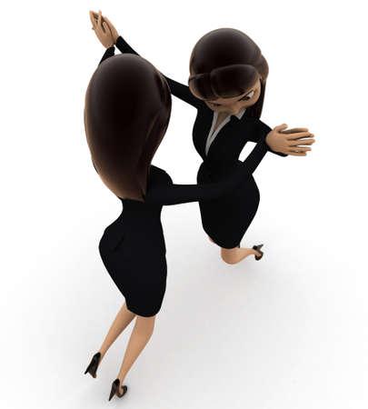top angle view: 3d concepto de baile de la mujer sobre fondo blanco, �ngulo de vista superior Foto de archivo