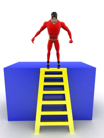superheros: superhero standing on ladder concept on white background - 3d rendering, front angle view