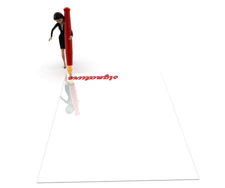 top angle view: 3d woman signature concept on white background, top angle view Stock Photo