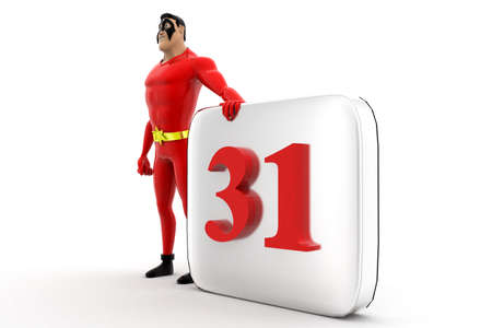 appointments: superhero with calendar concept on white background -3d rendering , side angle view