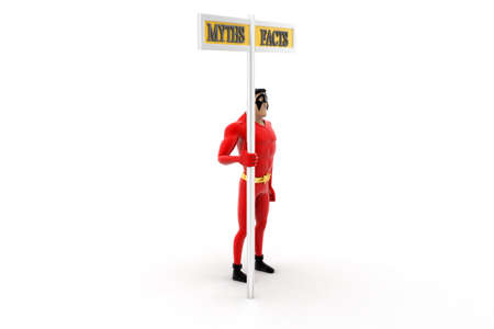 myths: superhero beside myths and facts sign concept on white background -3d rendering , side angle view Stock Photo