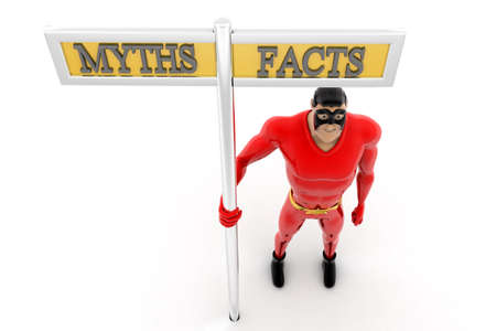myths: superhero beside myths and facts sign concept on white background -3d rendering , top angle view