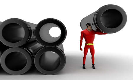superheros carrying pipe concept on white background - 3d rendering, front angle view