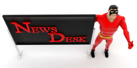 top angle view: superhero with help desk boarding concept on white background - 3d rendering,  top angle view