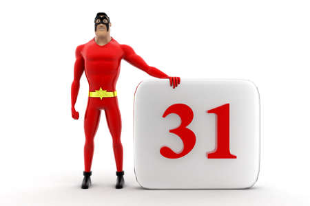 appointments: superhero with calendar concept on white background -3d rendering , front angle view