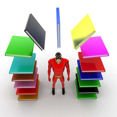 arc: superhero with arc of books concept on white background - 3d rendering , top angle view Stock Photo
