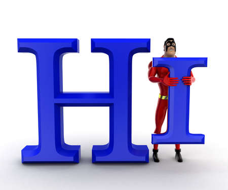 hi: superhero  Hi concept  on white background - 3d rendering , front angle view Stock Photo