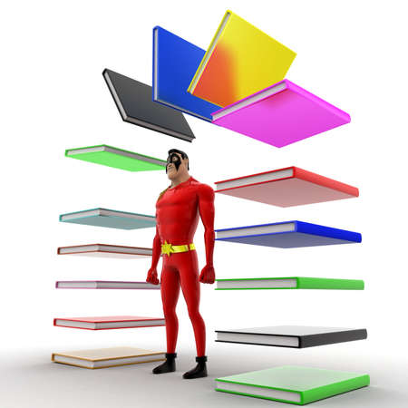 arc: superhero with arc of books concept on white background - 3d rendering , side angle view Stock Photo