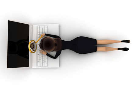 investigations: woman search on laptop concept on white background - 3d rendering , top angle view