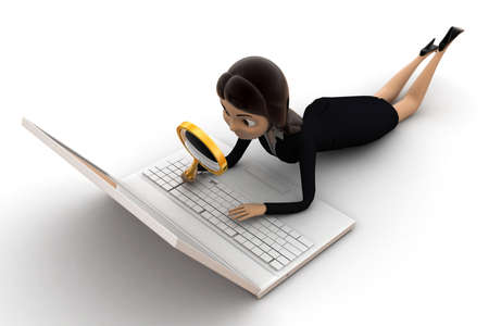 investigations: woman search on laptop concept on white background - 3d rendering , front angle view Stock Photo