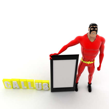 callus: superhero call us concept on white background -3d rendering ,  top angle view Stock Photo