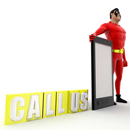 callus: superhero call us concept on white background -3d rendering ,  side angle view
