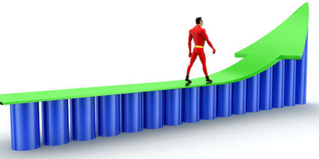 going up: superhero on arrow going up concept on white background -3d rendering , back angle view Stock Photo