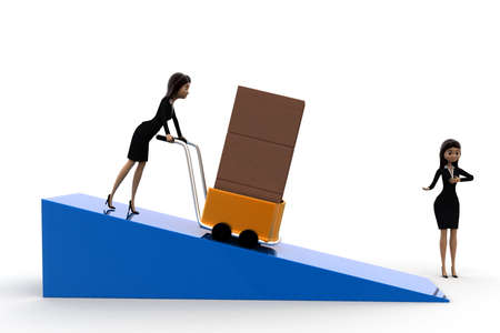 handtruck: 3d woman driving handtruck and another welcoming concept on white background, front angle view