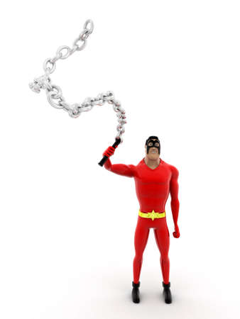 lash: superhero  holding chain lash concept on white background -3d rendering , front angle view