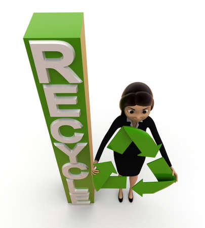 top angle view: 3d woman with recycle symbol and alphabets concept on white background, top angle view Stock Photo