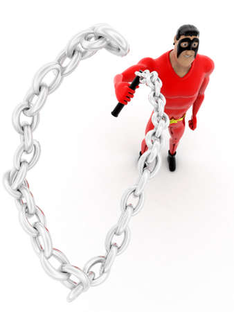 lash: superhero  holding chain lash concept on white background -3d rendering , top angle view Stock Photo