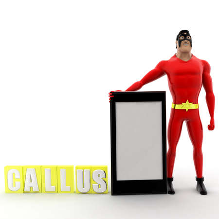 callus: superhero call us concept on white background -3d rendering , front angle view