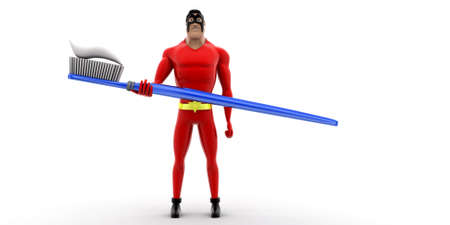 paste: superhero holding toothbrush with paste concept on white background -3d rendering , front angle view