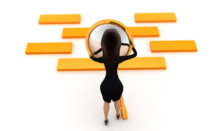 boxs: 3d women examining golden boxs  through magnifier concept on white isolated background , back angle view