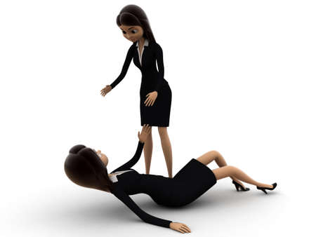 get up: 3d woman help another woman to get up concept on white background, side  angle view