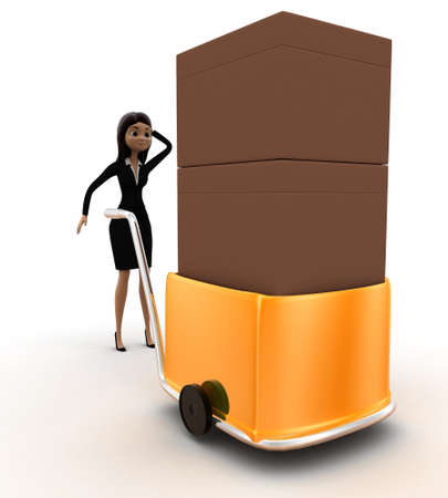 handtruck: 3d woman delivery box on handtruck concept on white background, front angle view