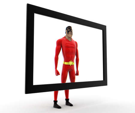tv screen: superhero on tv screen concept on white background - 3d rendering , side angle view