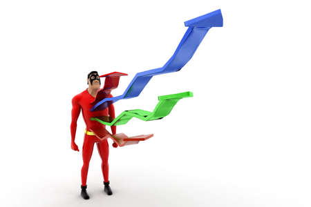 out of body: superhero with growth arrow coming out from body concepton white background - 3d rendering , front angle view Stock Photo