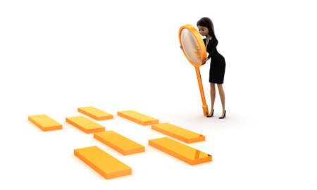 boxs: 3d women examining golden boxs  through magnifier concept on white isolated background , side angle view