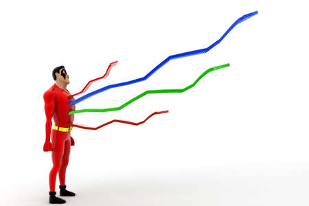 out of body: superhero with growth arrow coming out from body concepton white background - 3d rendering , side angle view
