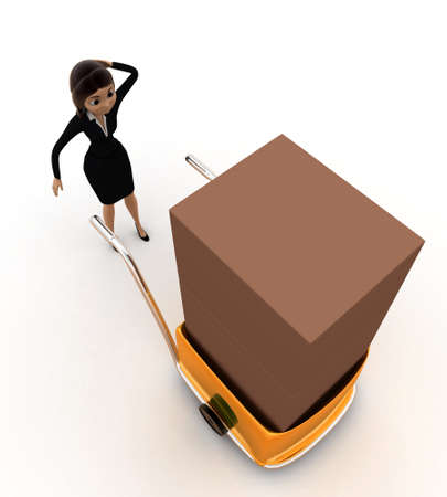 handtruck: 3d woman delivery box on handtruck concept on white background, top angle view Stock Photo