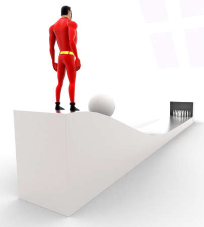 the slope: superhero rolling ball from top of the slope concept on white background - 3d rendering , back angle view
