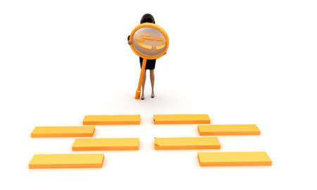 boxs: 3d women examining golden boxs  through magnifier concept on white isolated background , front angle view